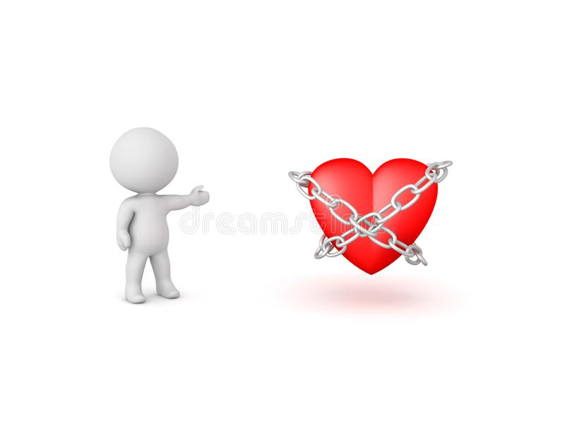3D Character showing chained up heart royalty free illustration