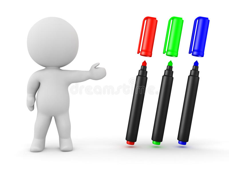3D Character Showing Color Markers royalty free illustration