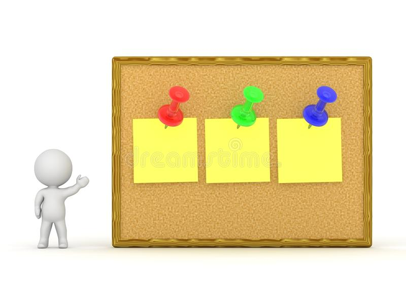 3D Character Showing Cork Board With Three Notes vector illustration