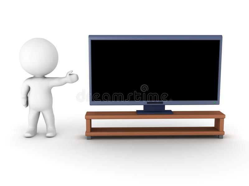3D character showing generic HDTV. A 3D character showing a generic HDTV, isolated on white royalty free illustration