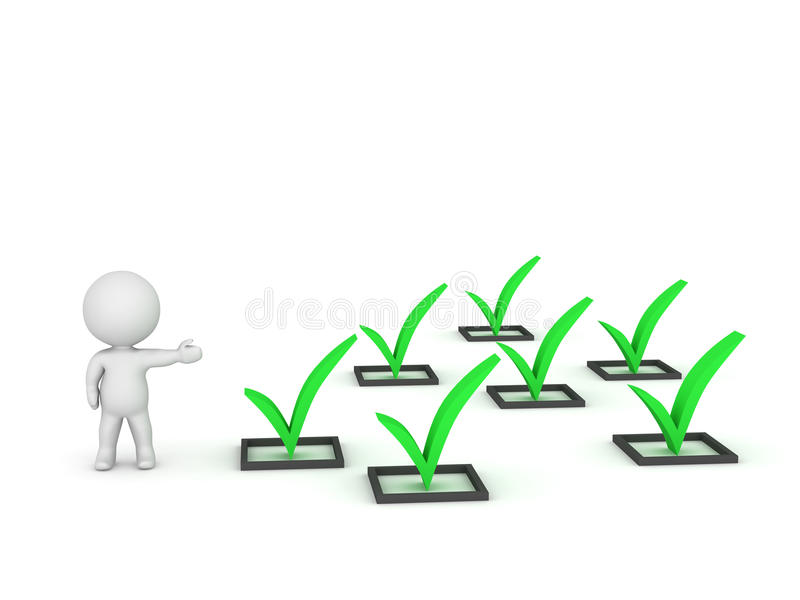 3D Character Showing Many Check Marks. 3D character showing several green check symbols. on white background stock illustration