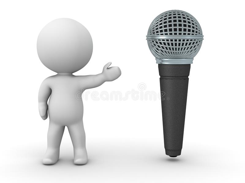 3D Character Showing Microphone royalty free illustration