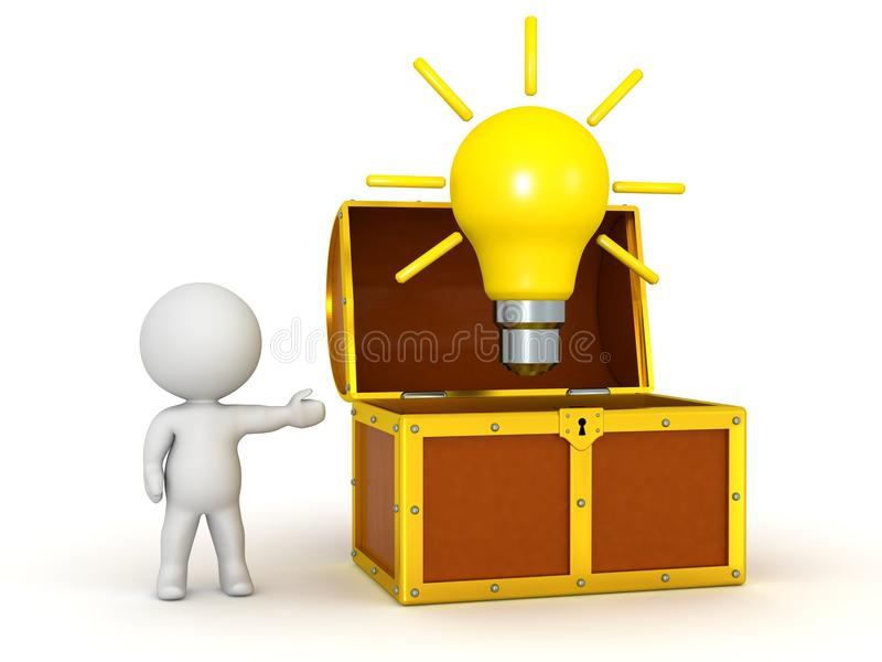 3D Character Showing Open Treasure Chest with Light Bulb vector illustration