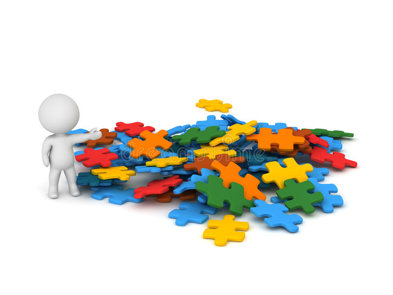 3D Character Showing Pile of Puzzle Pieces royalty free illustration