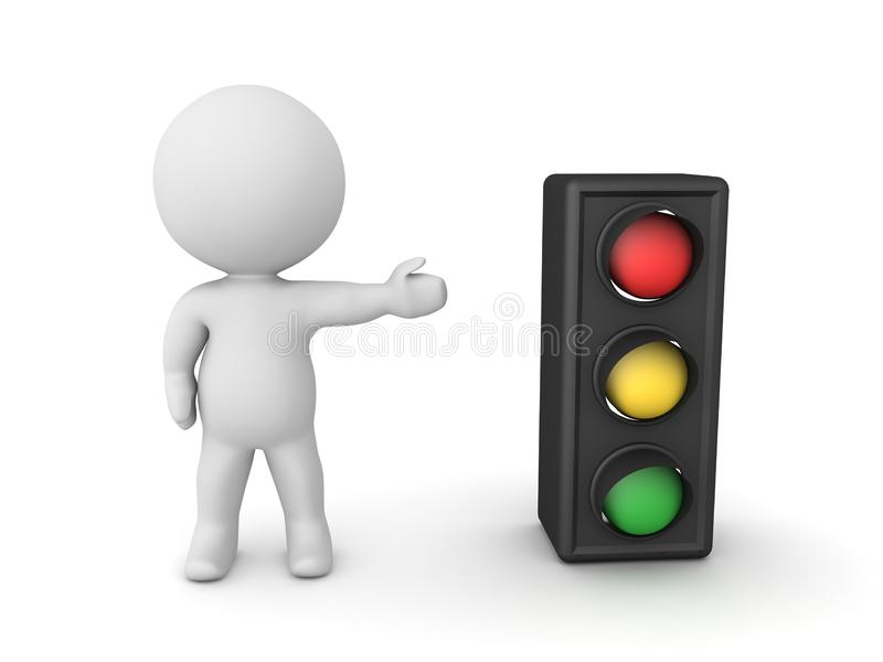 3D Character showing traffic light. 3D Rendering isolated on white vector illustration