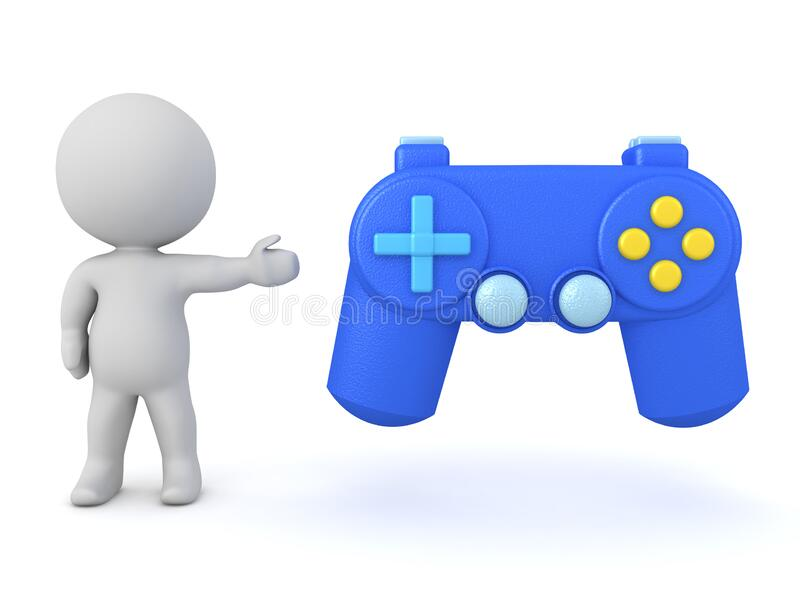 3D Character showing video game controller royalty free illustration