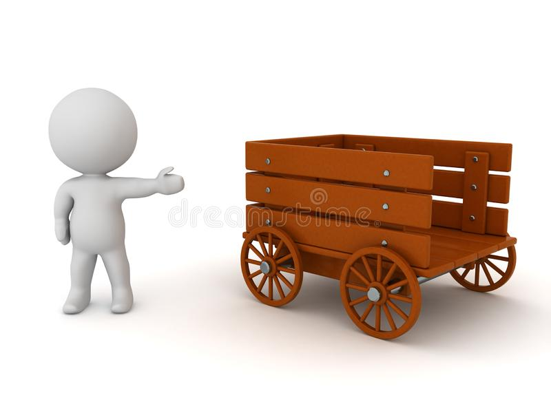 3D Character showing wooden rustic wagon royalty free illustration