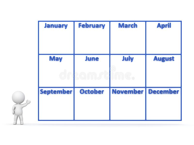 Download 3D Character Showing Year Calendar With 12 Months Stock Illustration - Image: 42881791