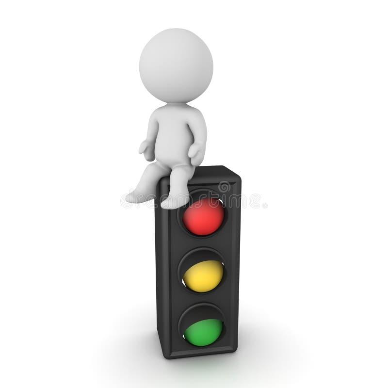 3D Character sitting on traffic light. 3D Rendering isolated on white stock illustration