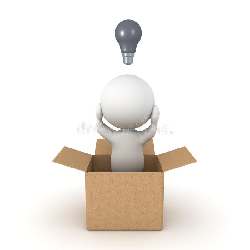 3D Character thinking inside the box concept royalty free illustration