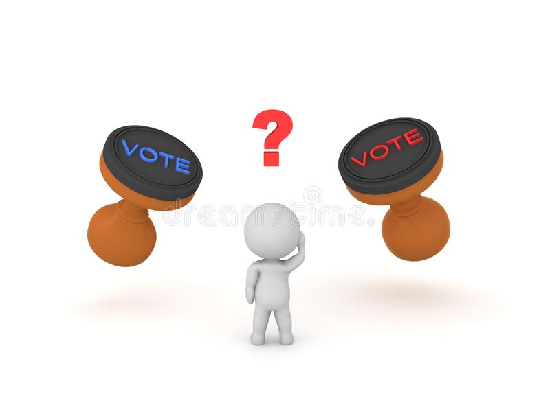 3D Character trying to decide who he should vote for. 3D rendering isolated on white royalty free illustration