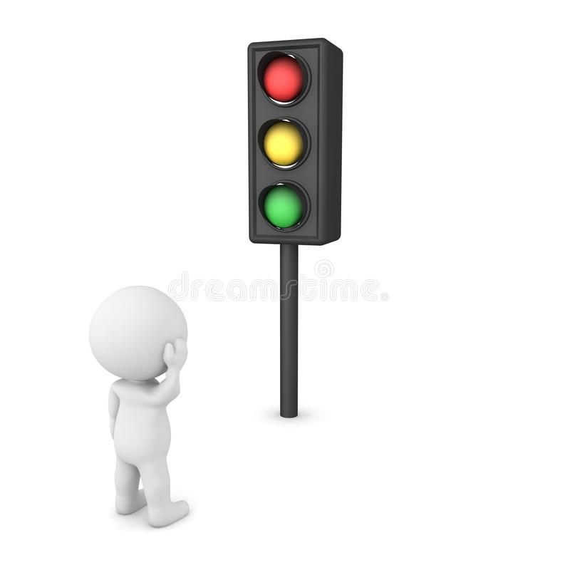 3D Character waiting for traffic light to change. 3D Rendering isolated on white vector illustration