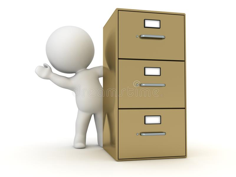 3D Character Waving from Behind Archiving Cabinet vector illustration