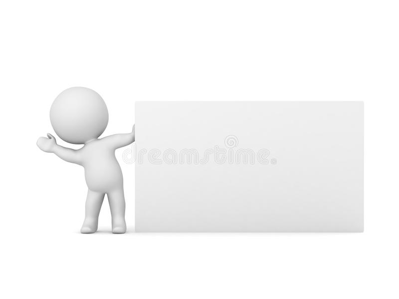 3D Character Waving From Behind Large Business Card Stock ...