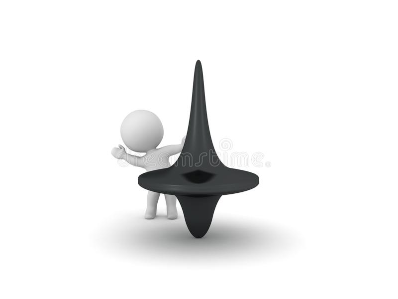 3D Character waving from behind spinning top. Isolated on white royalty free illustration