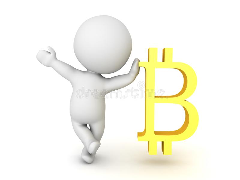 3D Character waving and leaning on bitcoin symbol vector illustration
