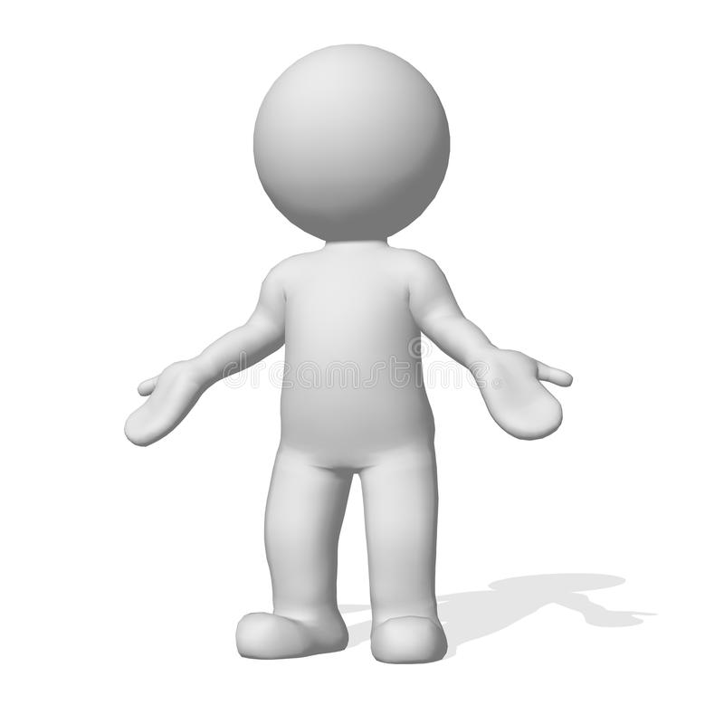 3D character on white background. Unsure what to do. awaiting response. Add own caption stock illustration