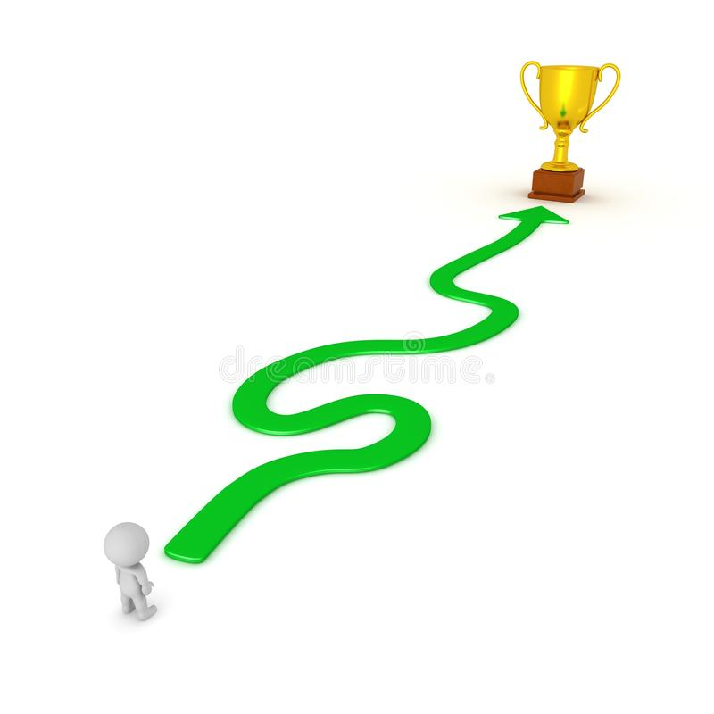 3D Character and Winding Path to Success Gold Trophy royalty free illustration