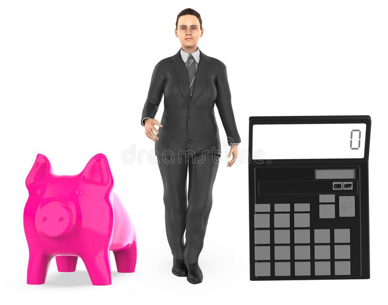 3d character ,woman , piggy bank and a calculator stock illustration