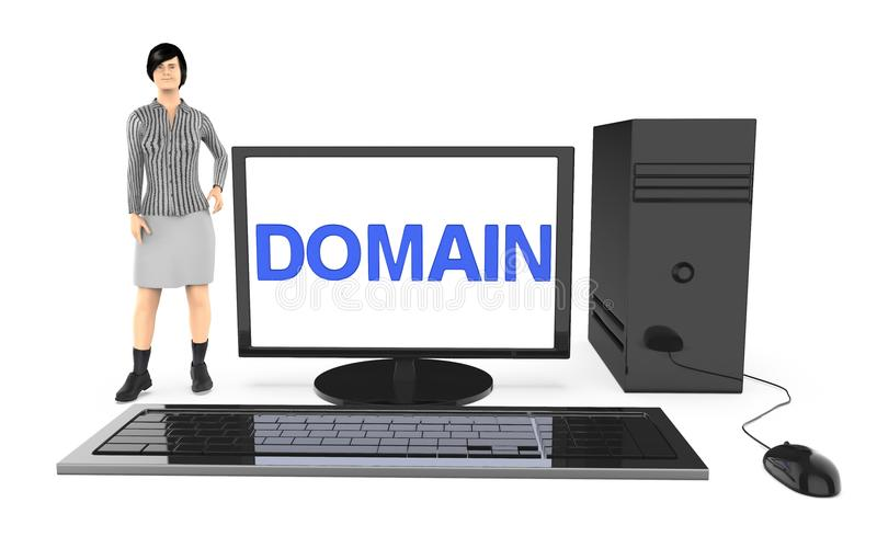 3d character , woman standing near to a computer , with domain text displayed in the monitor screen vector illustration