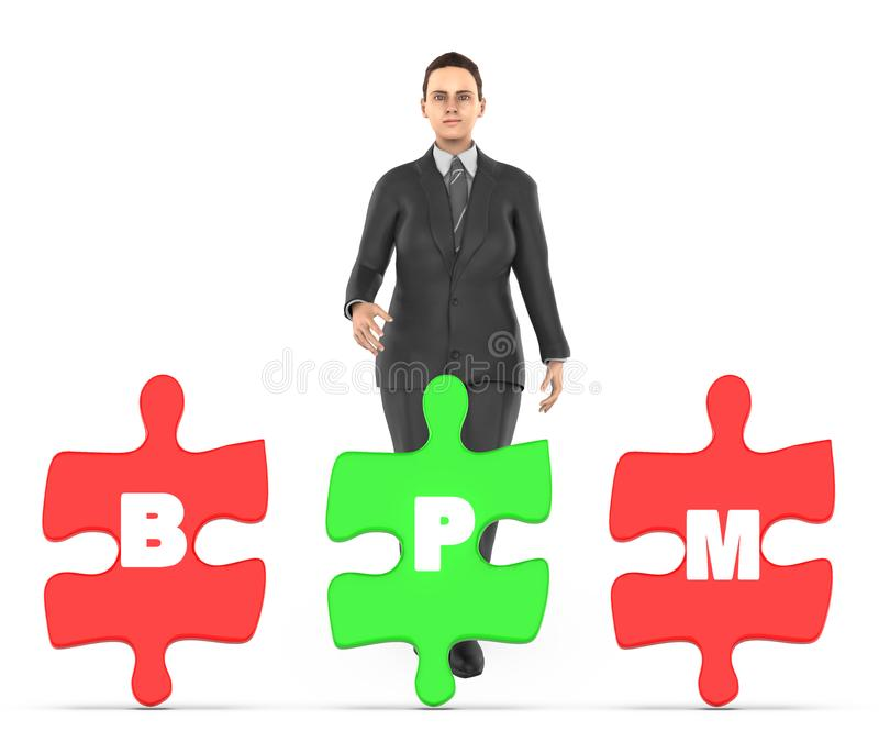 3d character , woman and three of them holding a each jigsaw with letter alphabets b , p and m in it - bpm concept royalty free illustration