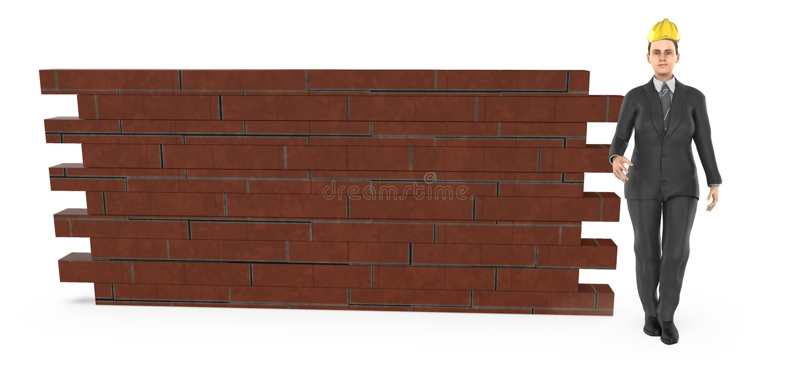 3d character , woman wearing hard helmet and standing near a brick wall royalty free illustration