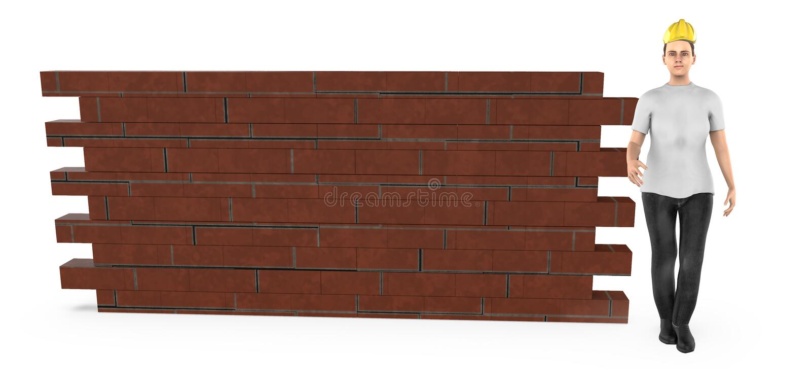 3d character , woman wearing hard helmet and standing near a brick wall vector illustration