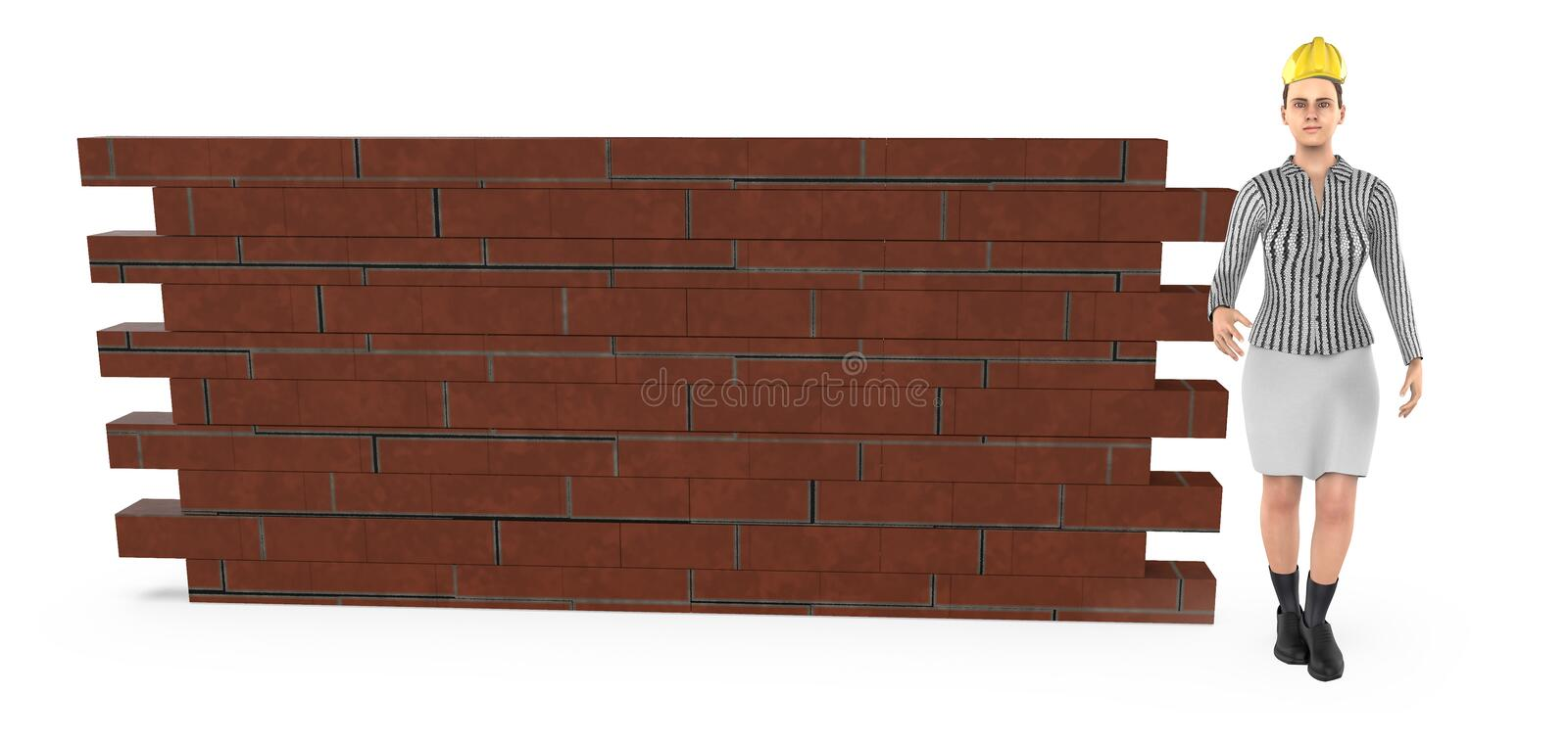 3d character , woman wearing hard helmet and standing near a brick wall stock illustration