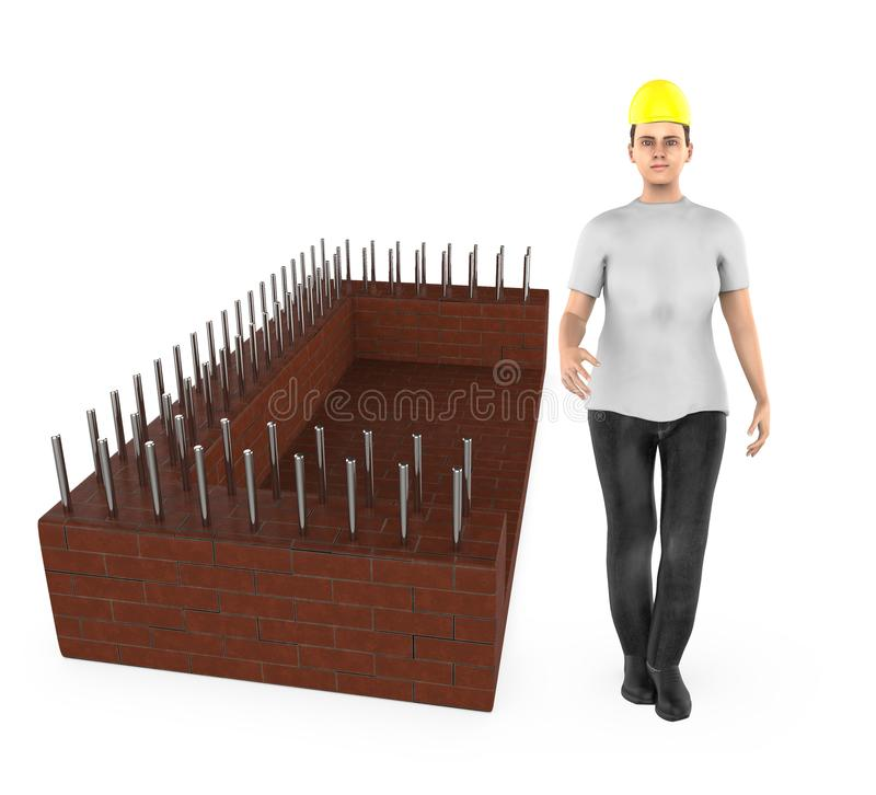 3d character , woman wearing safety hat and standing near a construction site stock illustration