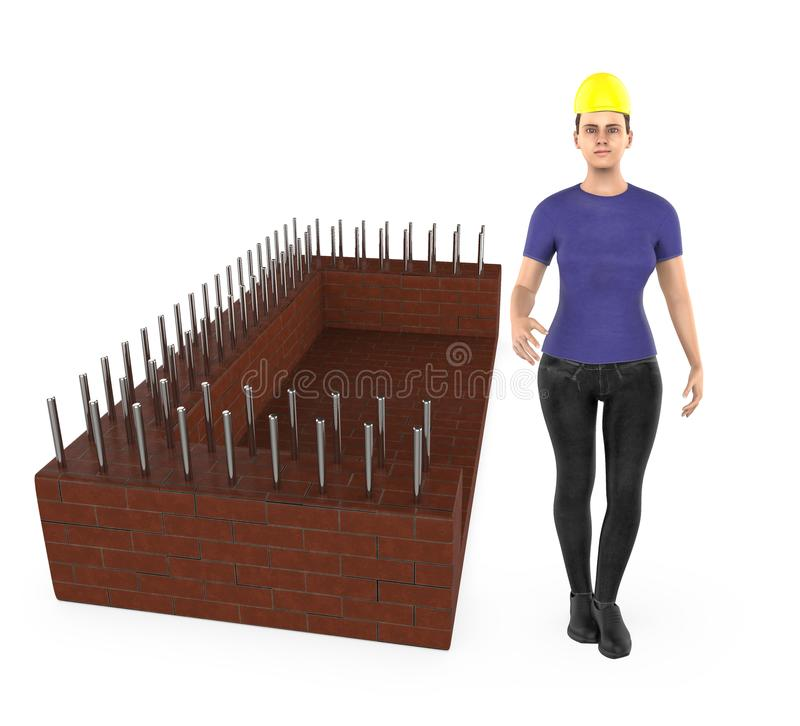 3d character , woman wearing safety hat and standing near a construction site royalty free illustration