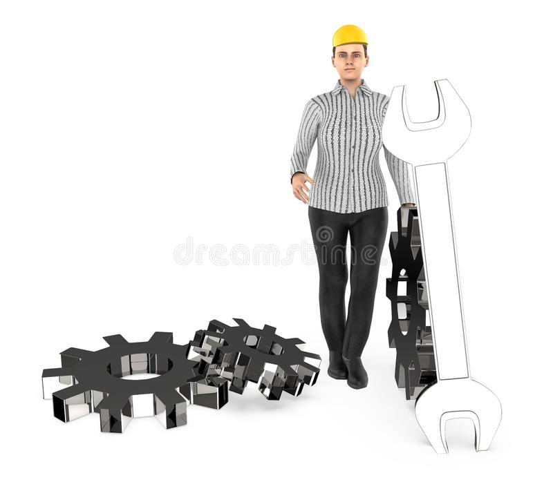 3d character , woman worker wearing safety cap and standing near to a different cog wheels stock illustration