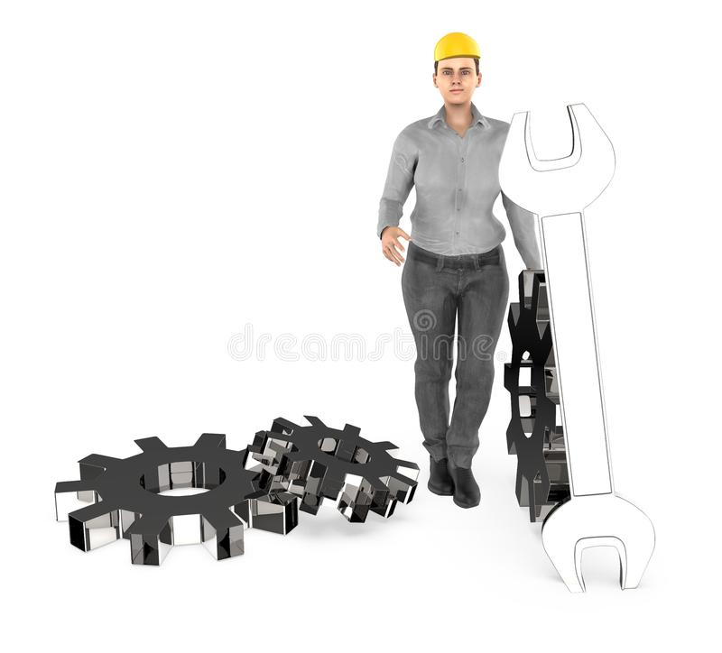 3d character , woman worker wearing safety cap and standing near to a different cog wheels royalty free illustration