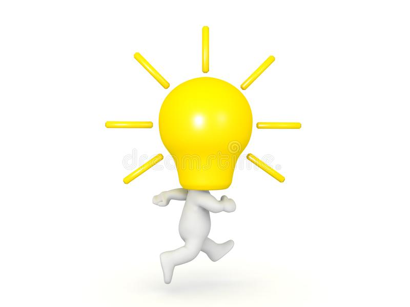 3D Character with a yellow lightbulb for head running royalty free illustration