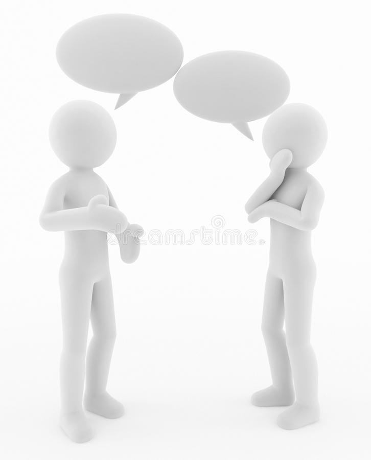 3d characters Conversation and speech bubbles royalty free stock images