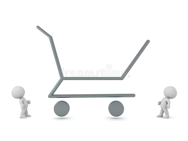 3D Characters and Large Shopping Cart Outline. Two 3D characters looking at a large empty shopping cart outline. Isolated on white background royalty free illustration