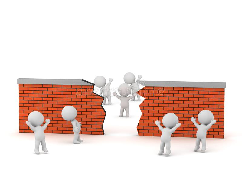 3D Characters Looking at Broken Brick Wall. 3D characters looking beyond broken brick wall. Isolated on white background royalty free illustration