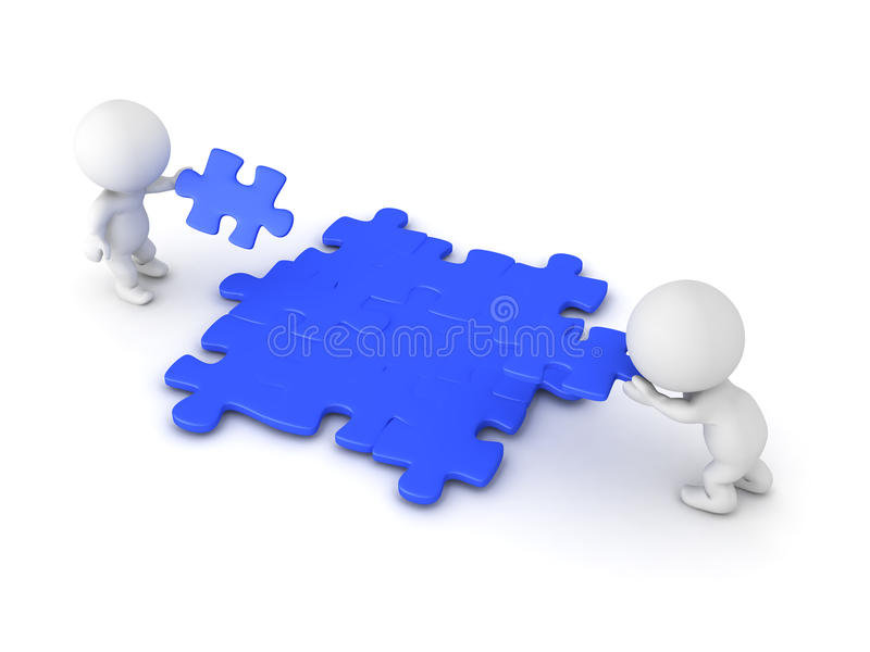 3D Characters placing puzzle pieces onto jigsaw puzzle surface vector illustration