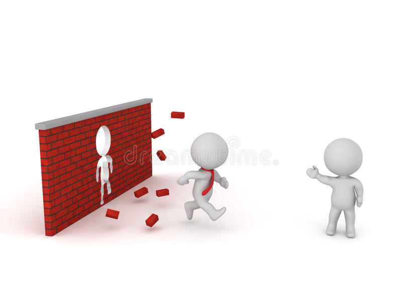 3D Characters Showing Breaking Through Brick Wall. 3D character running through a brick wall. Isolated on white background vector illustration