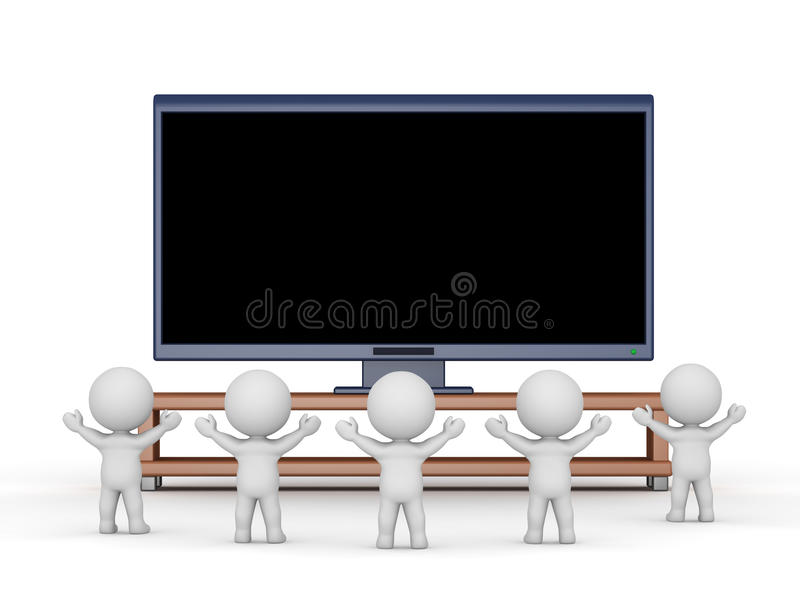 3D Characters Watching and Cheering in fromt of Large HD TV. Several 3D characters cheering and watching a large HDTV. Isolated on white background stock illustration