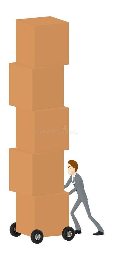 3d Charakter, bewegliche Pappschachteln des Mannes unter Verwendung der Laufkatze lizenzfreie abbildung