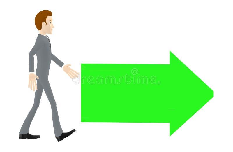 3d Charakter, der gehende Mann, grüner Pfeil richtete auf eine Richtung lizenzfreie abbildung