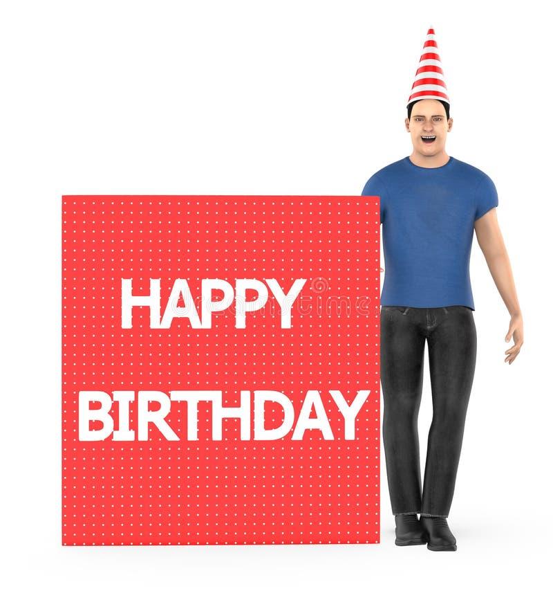 3d Charakter, der Mann, der eine weiße und rote Linie trägt, streifte Kegelkappe und eine Fahne mit alles- Gute zum Geburtstagtex stock abbildung