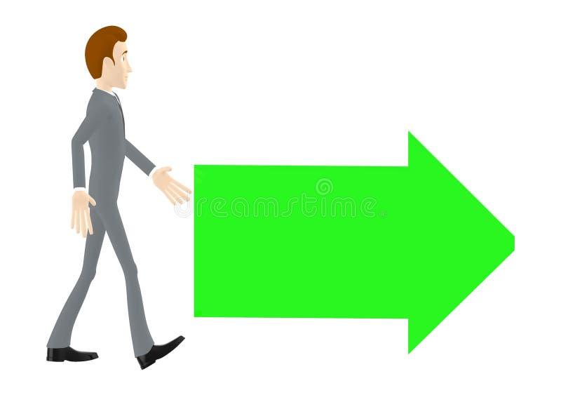 3d Charakter, der Mann, der in Richtung zu einem Pfeil geht, richtete auf eine Richtung vektor abbildung