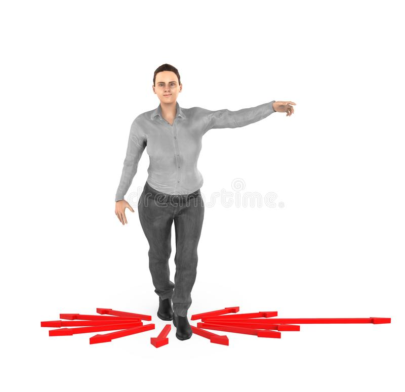 3d Charakter, Frau, die seine Hände in Richtung zu einer Richtung zeigt, vektor abbildung