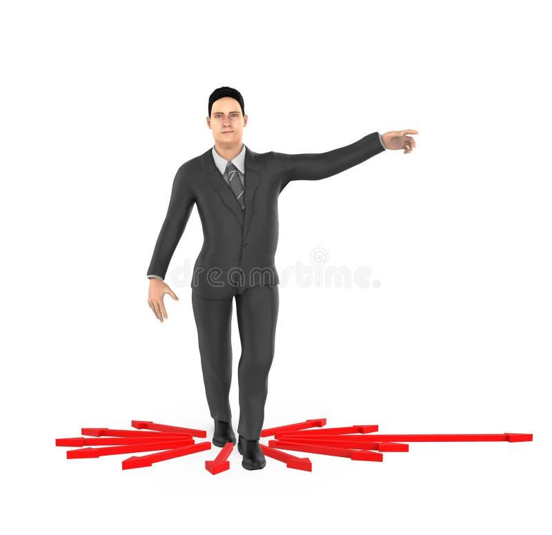 3d Charakter, Frau, die seine Hände in Richtung zu einer Richtung zeigt, lizenzfreie abbildung