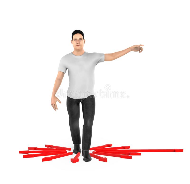 3d Charakter, Frau, die seine Hände in Richtung zu einer Richtung zeigt, stock abbildung