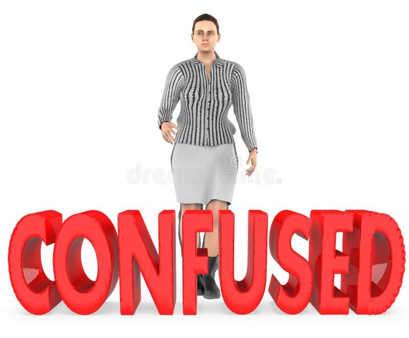 3d charakter, kobieta, wątpliwość, confussed - zmieszanego tekst ilustracji