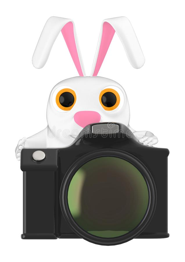 3d charakter, królik i kamera, ilustracja wektor