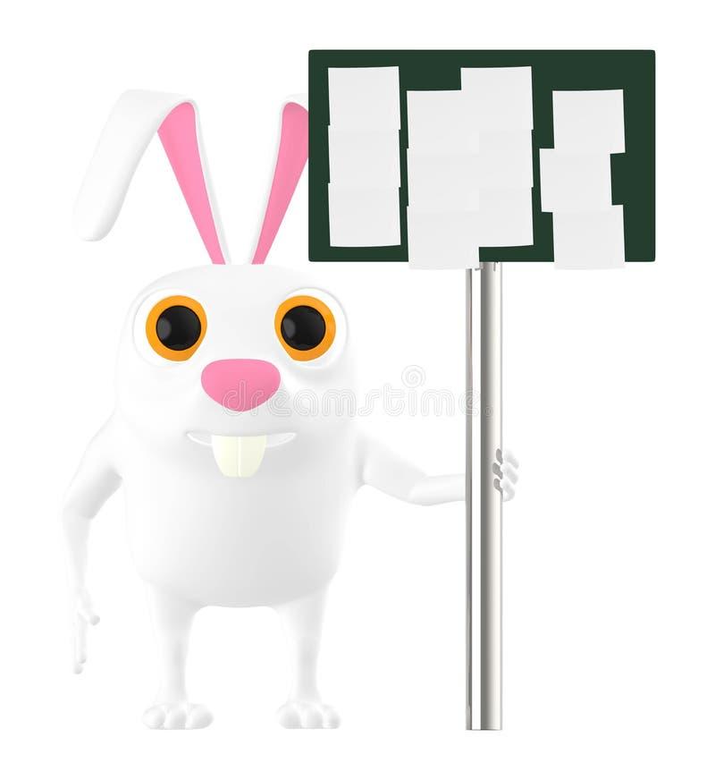 3d charakter, królik trzyma deskę z pustymi notatkami w nim royalty ilustracja