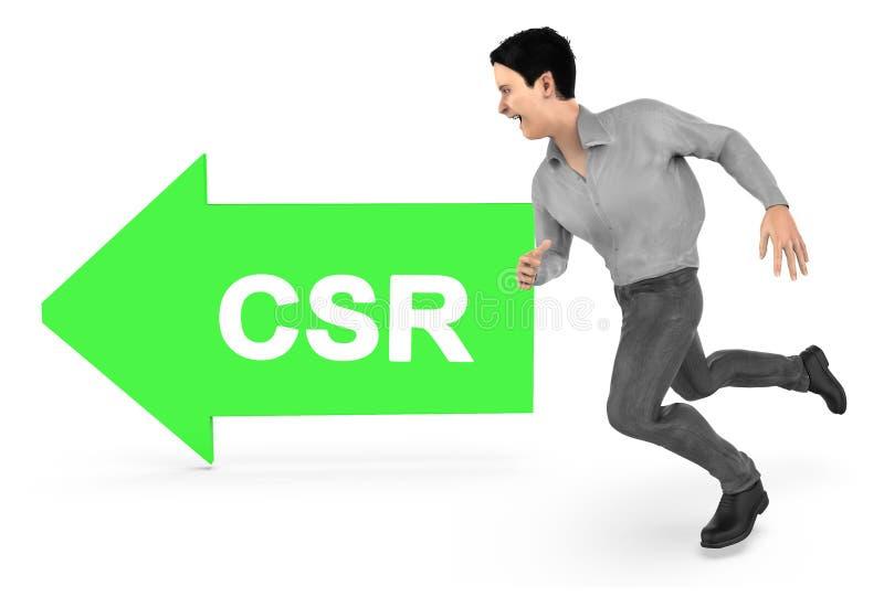 3d charakter, mężczyzna bieg w kierunku csr teksta strzała kierował sposób ilustracji